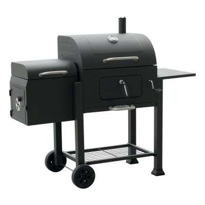 Vista Black Charcoal Grill with Offset Smoker Box
