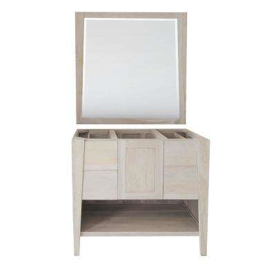 Significado 36 in. W Teak Vanity Bath Cabinet Only With Mirror in Driftwood