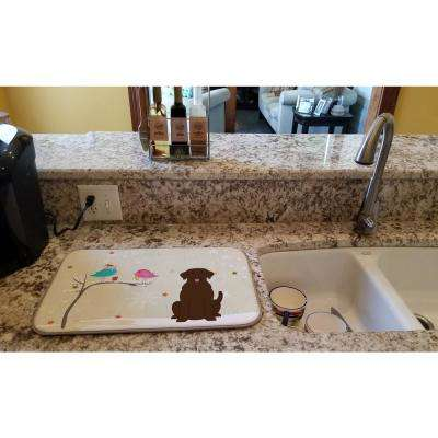 14 in. x 21 in. Multicolor Christmas Presents between Friends Chocolate Labrador Dish Drying Mat
