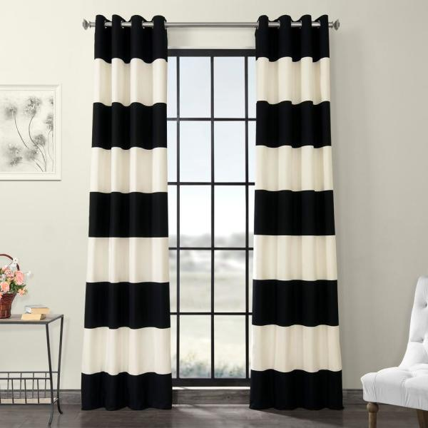 Onyx Black and Off-White Room Darkening Horizontal Grommet Stripe Cotton Curtain - 50 in. W x 96 in. L