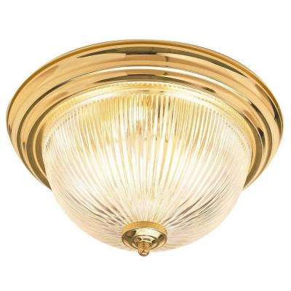 2-Light Polished Brass Flush Mount