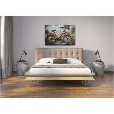 "31 in. x 47 in. ""Red Bicycle"" Metal Wall Art"