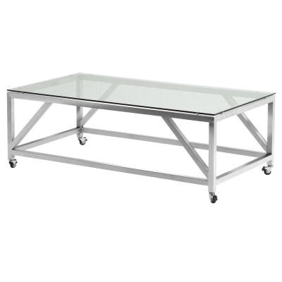 Armen Living Enessa Tempered Glass Top Contemporary Rectangular Coffee Table with Wheels in Brushed Stainless Steel