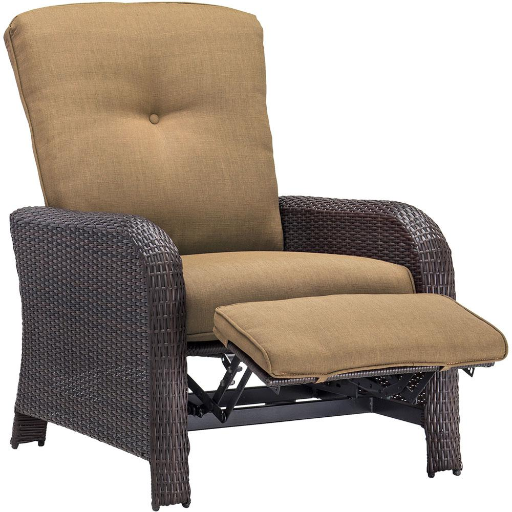 Corolla 1-Piece Wicker Outdoor Reclinging Patio Lounge Chair with Tan Cushions