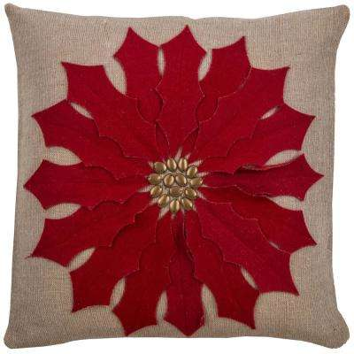 Beige and Red Jute/Cotton 18 in. X 18 in. Decorative Filled Throw Pillow