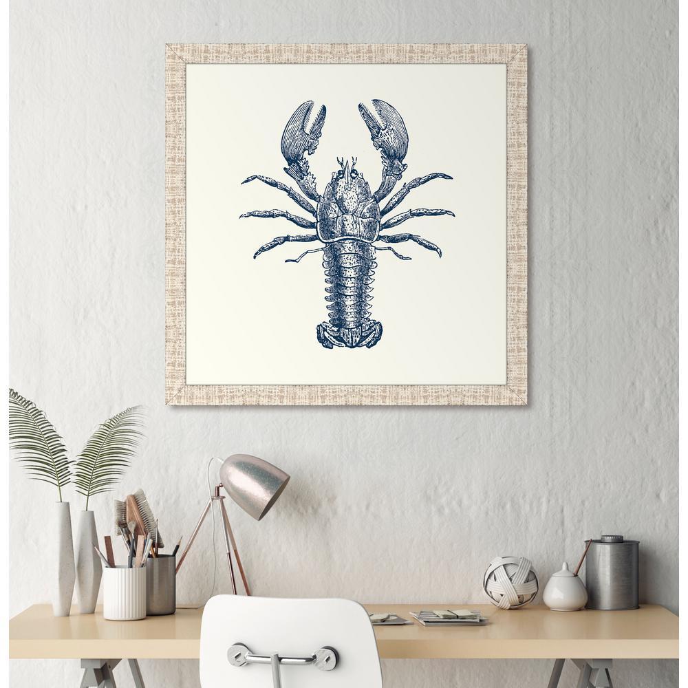 "31 in. x 31 in. ""Lobster in Blue"" Framed Giclee Print Wall Art"