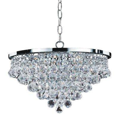 Vista 6-Light Faceted Crystal Ball and Chrome Chandelier