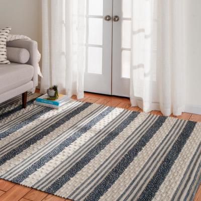 Bazaar Ruggle Blue 5 ft. x 7 ft. Striped Cotton/Wool Area Rug