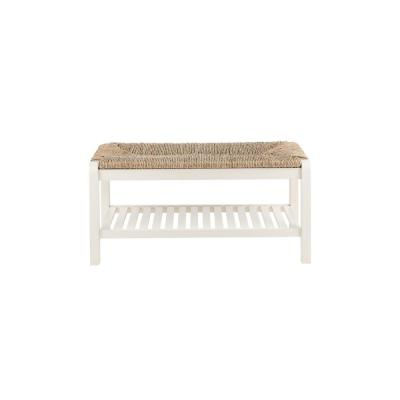 Dorsey Ivory Wood Entryway Bench with Rush Seat (37.99 in. W x 17.72 in. H)