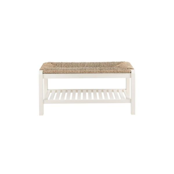 Home Decorators Collection - Dorsey Ivory Wood Entryway Bench with Rush Seat (37.99 in. W x 17.72 in. H)