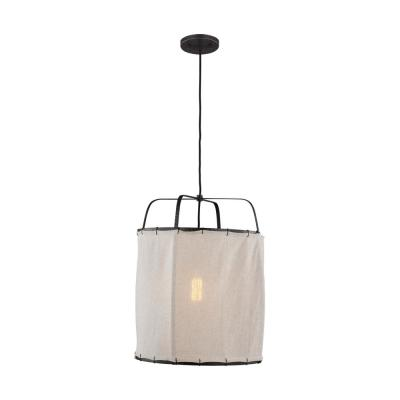 ED Ellen DeGeneres Crafted by Generation Lighting Dunne 1-Light Aged Iron Pendant with Hand-Sewn Natural Linen Shade