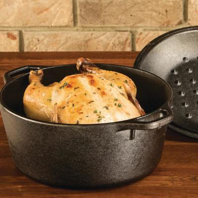 Enamel 5 qt. Round Cast Iron Dutch Oven in Black with Lid