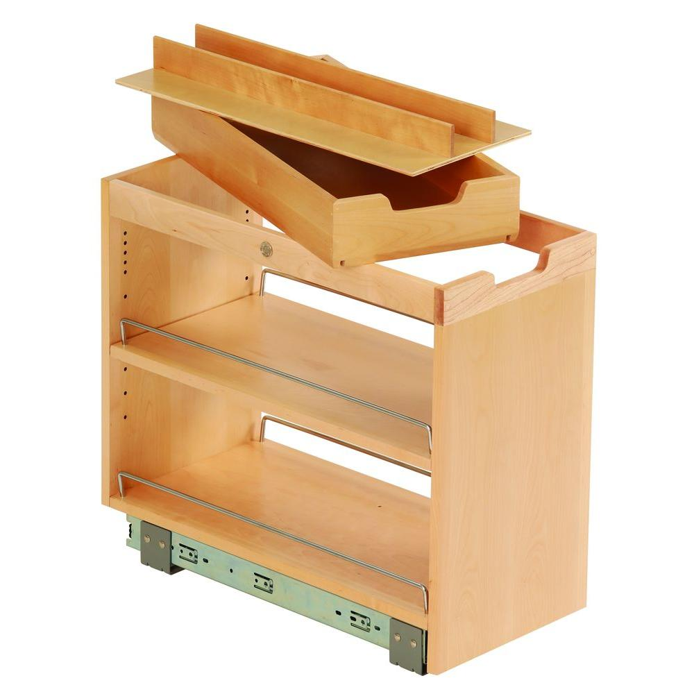 Ornamental Mouldings 10-3/4x19-1/2x22-1/8 in. FINDIT Birch Kitchen Storage Base Cabinet Pullout with Slide, Roll Manager and Cutting Board