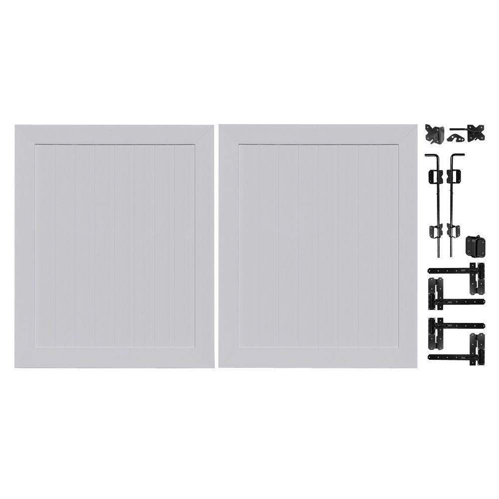 Veranda Pro Series 5 ft. W x 6 ft. H Seacoast Gray Vinyl Anaheim Privacy Double Drive Through Fence Gate