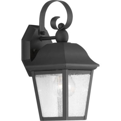 Kiawah Collection 1-Light Black 12.9 in. Outdoor Wall Lantern Sconce