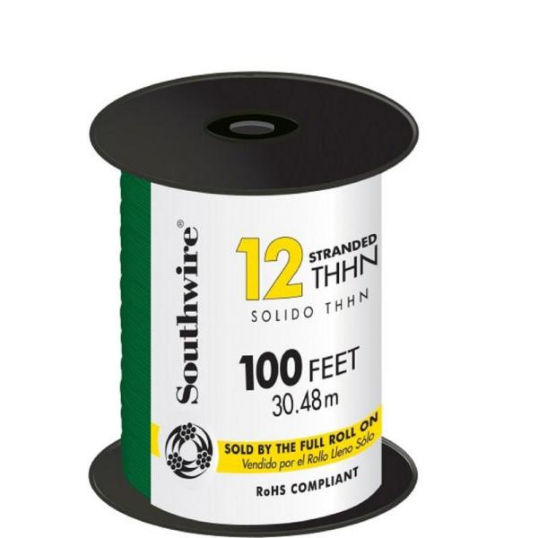 100 ft. 12 Green Stranded CU THHN Wire