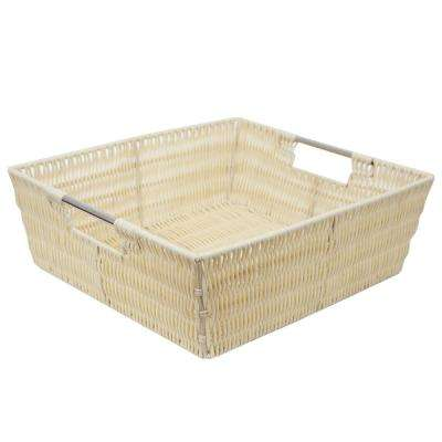Intricate Decorative Weave 13 in. x 5 in. Ivory Basket
