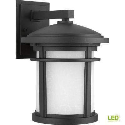 Wish Collection 1-Light 12.5 in. Outdoor Textured Black LED Wall Lantern