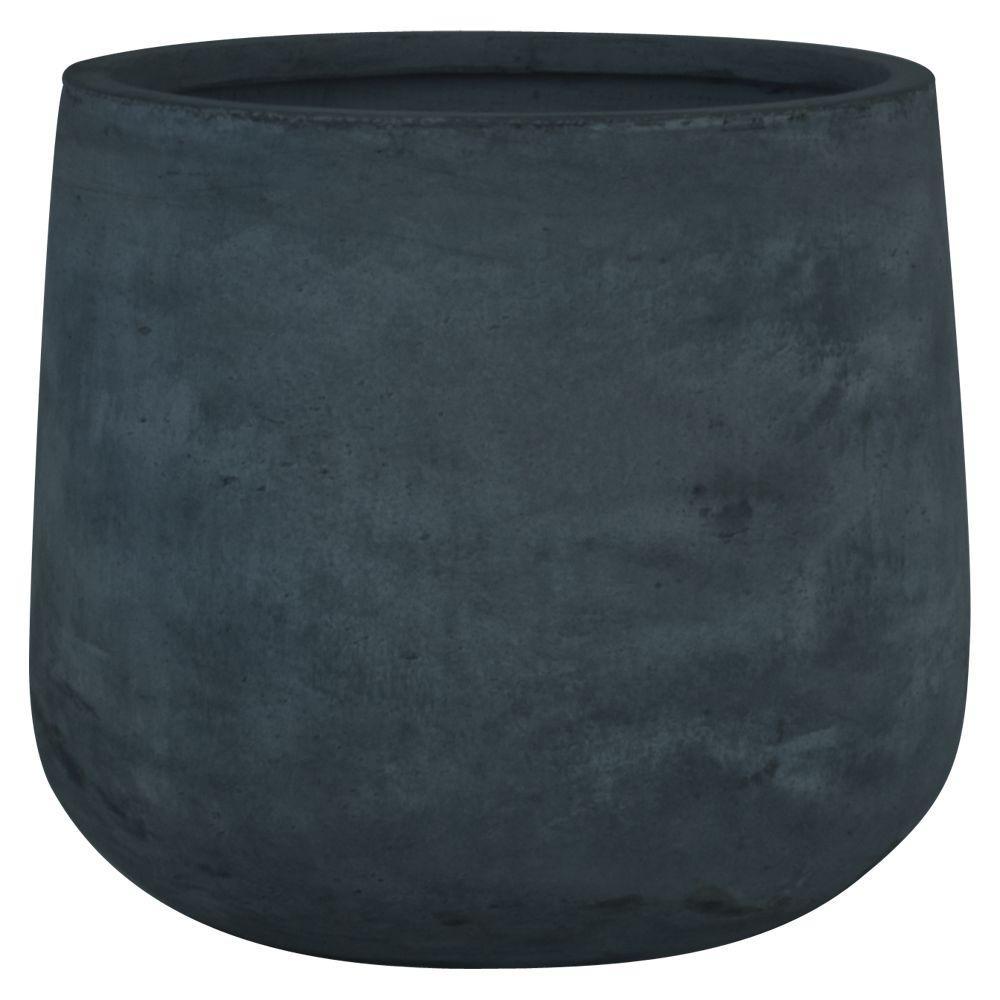 Origins Collection Stoney 17 in. Fiberclay Dark Gray Round Planter