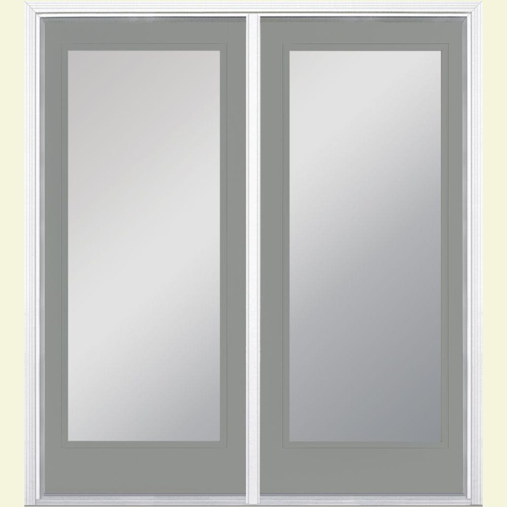 Masonite 60 in. x 80 in. Silver Cloud Prehung Right-Hand Inswing Full Lite Steel Patio Door with No Brickmold