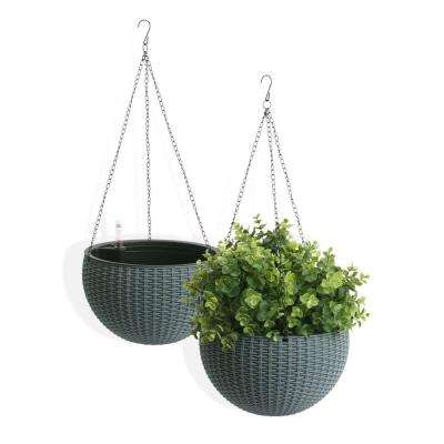 Self Watering Wicker Gray Plastic Hanging Planter 2 Pack