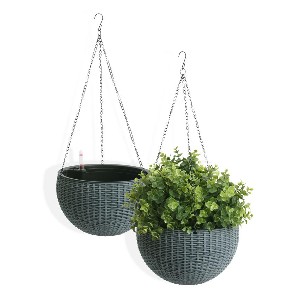 Self-Watering Wicker Gray Plastic Hanging Planter (2-Pack)