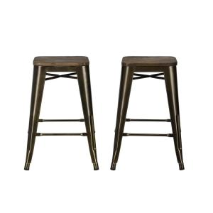 DHP Penelope 24 inch Antique Bronze, Metal Counter Stool with Wood Seat (Set of 2) by DHP