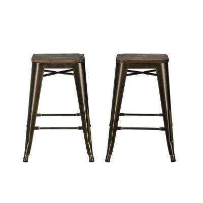 Antique Bronze Metal Counter Stool With Wood Seat Set Of