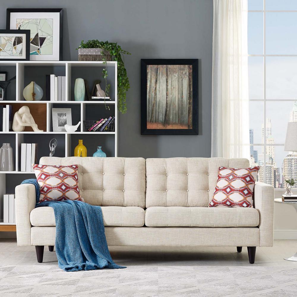 MODWAY Empress Beige Upholstered Fabric Sofa EEI-1011-BEI
