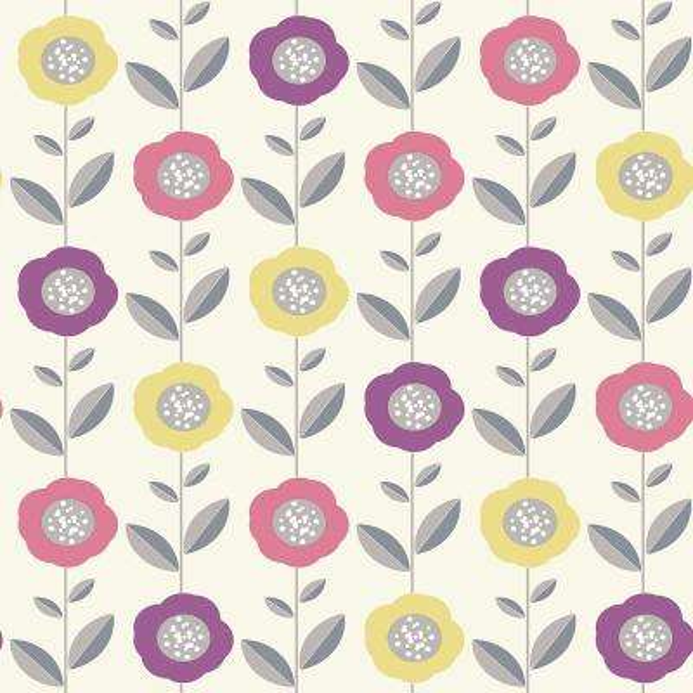 56.4 sq. ft. Helsinki Multicolor Flowers Wallpaper