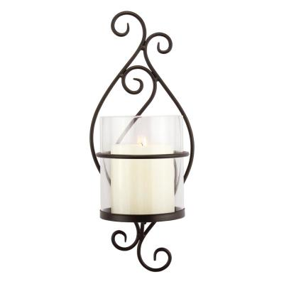 Black Metal Scrolled Pillar Candle Sconce