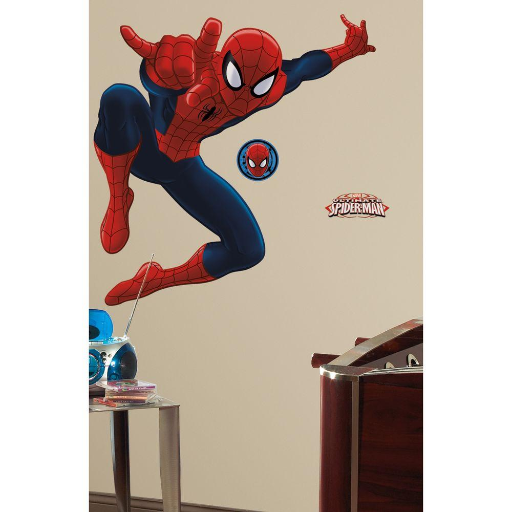 null 18 in. x 40 in. Spiderman - Ultimate Spiderman 17-Piece Peel and Stick Giant Wall Decal