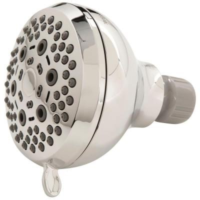 6-Spray 3.5 in. Single Wall Mount Fixed Adjustable Shower Head in Chrome