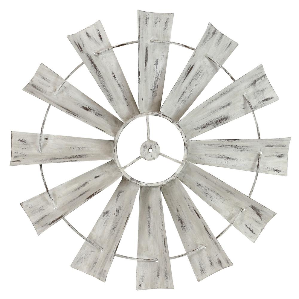 AspireHomeAccents Aspire Home Accents Celeste White Metal Windmill Wall Decal