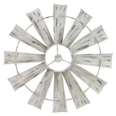 Celeste White Metal Windmill Wall Decal