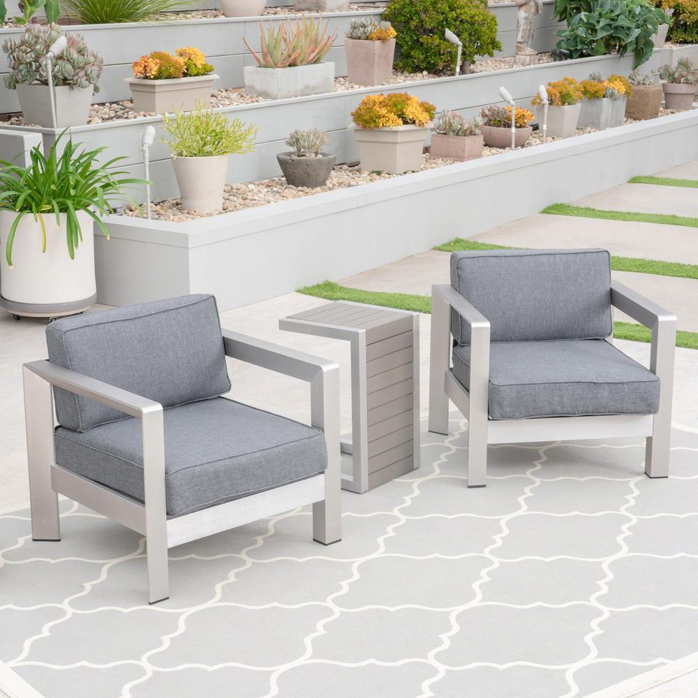 Alvira Silver 3-Piece Aluminum Patio Conversation Set with Grey Cushions