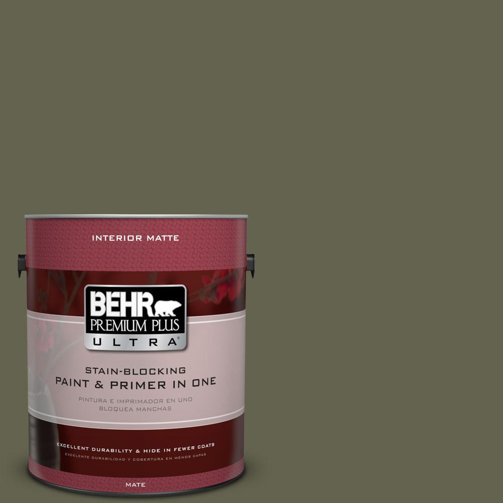 1 gal. #N350-7 Russian Olive Matte Interior Paint and Primer in