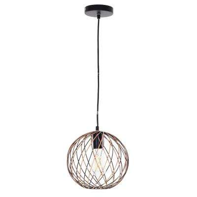 1-Light Antique Copper Finish Caged Mini Pendant