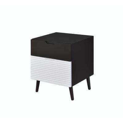 Daysi 2-Tone Espresso and White Nightstand