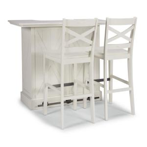 Seaside Lodge 3-Piece White Bar and Bar Stools