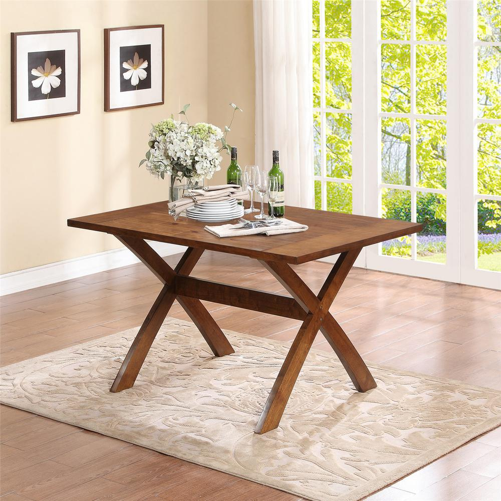 Dorel Living Trestle Dark Pine Dining Table