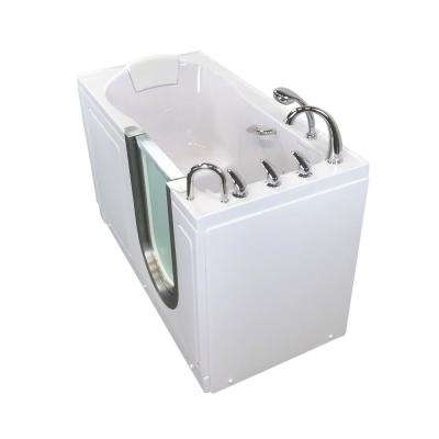 Deluxe 55 in. Acrylic Walk-In Micro Bubble Air Bath Bathtub in White with Fast Fill Faucet Set, RHS 2 in. Dual Drain