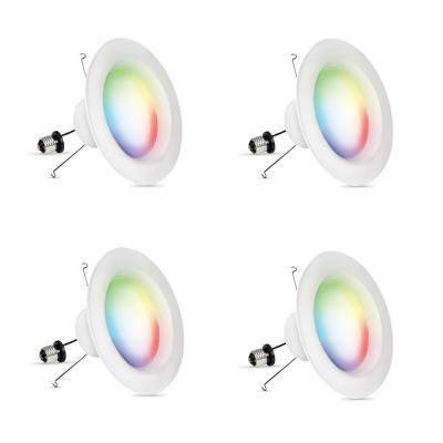 5 in. or 6 in. 75-Watt Equivalent Dimmable Smart Wi-Fi Color Changing and Tunable White LED Recessed Downlight (4-Pack)