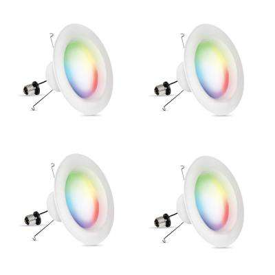 6 in. 75-Watt Equivalent Dimmable Smart Wi-Fi Color Changing and Tunable White LED Recessed Downlight (4-Pack)