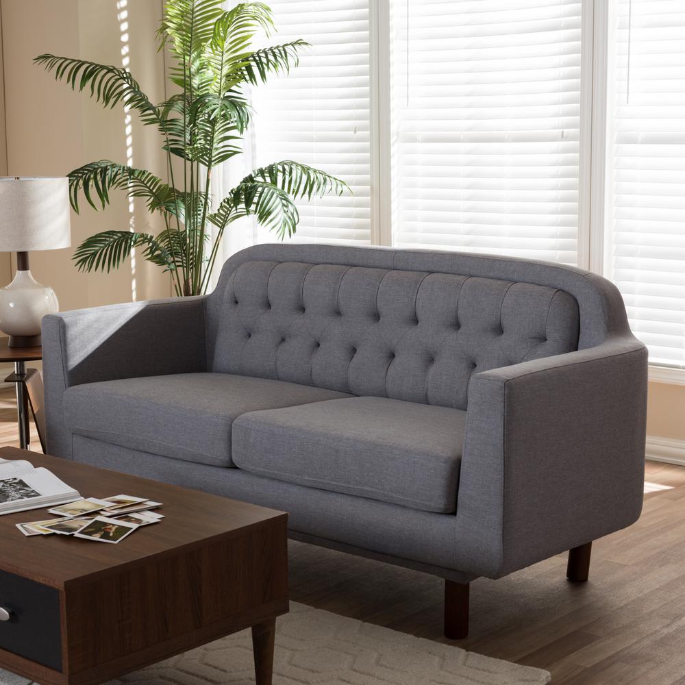 Baxton Studio Virginia Mid Century Light Gray Fabric Upholstered Sofa