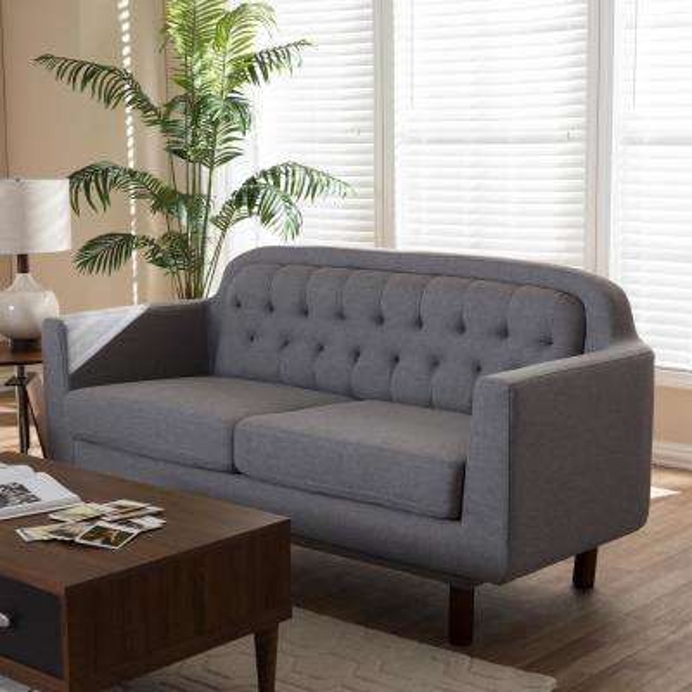 Virginia Mid-Century Light Gray Fabric Upholstered Sofa