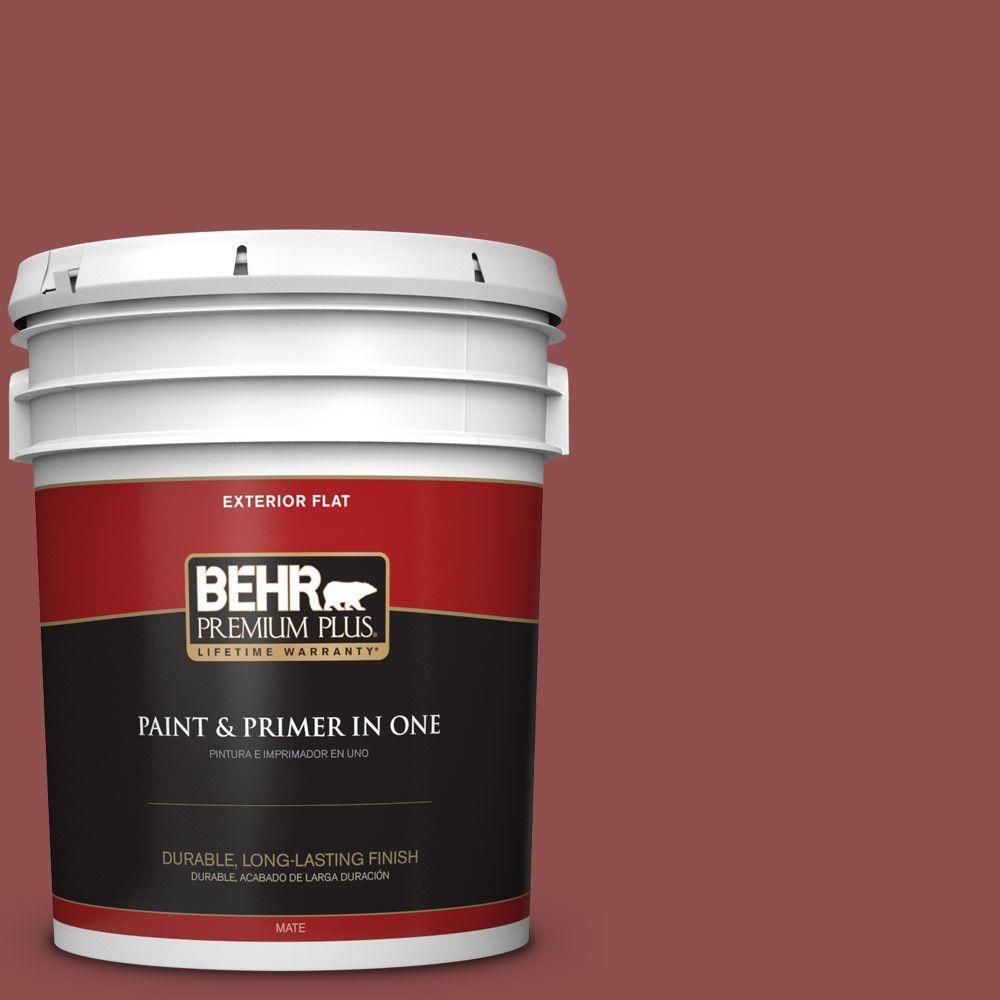 BEHR Premium Plus 5-gal. #S140-6 Moroccan Ruby Flat Exterior Paint