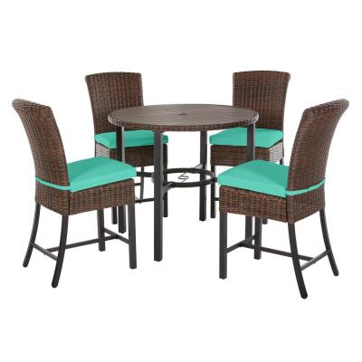 Harper Creek 5-Piece Brown Steel Outdoor Patio Bar Height Dining Set with CushionGuard Seaglass Turquoise Cushions