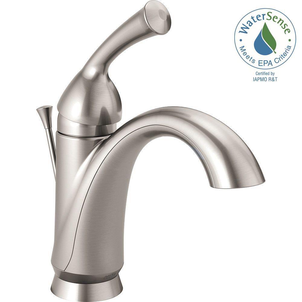 Delta Single Handle Bathroom Faucets delta lahara single hole single-handle bathroom faucet with metal