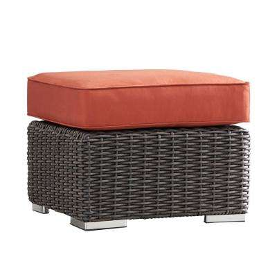 Camari Charcoal Wicker Outdoor Ottoman with Red Cushion